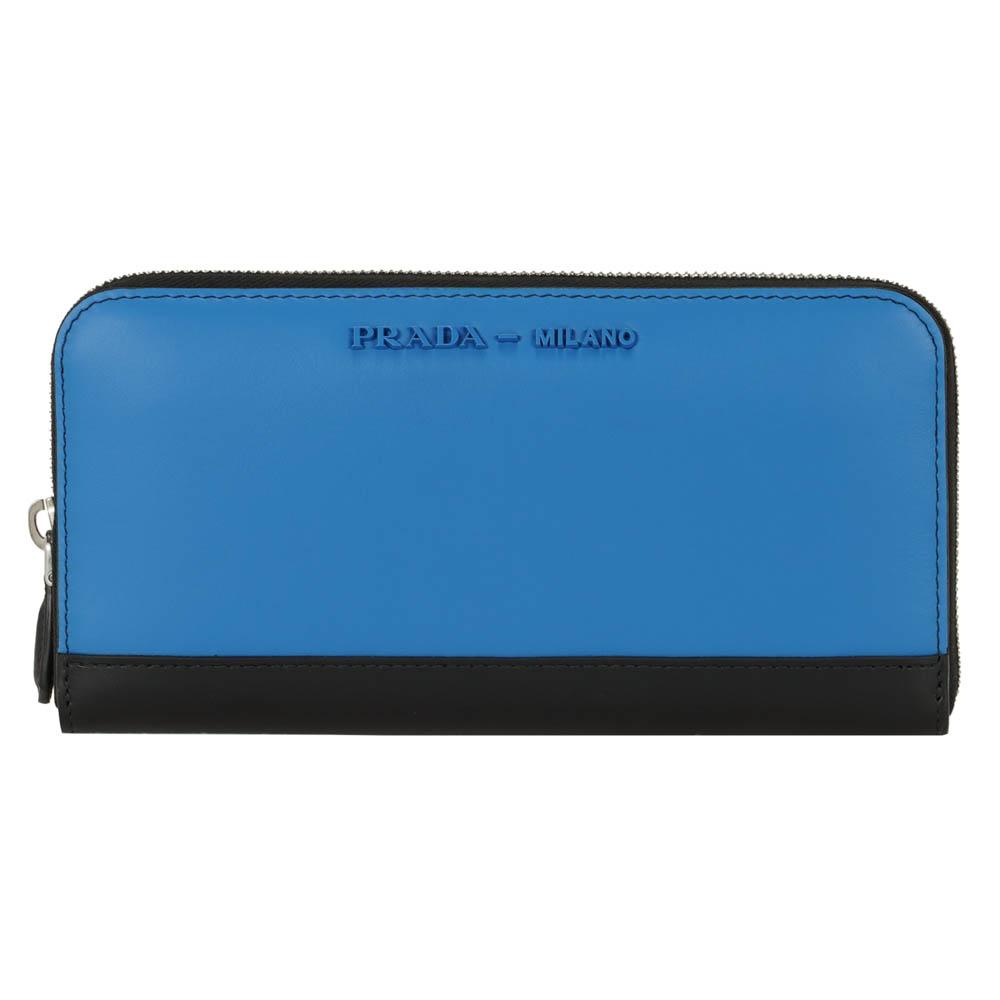 プラダ 財布 ファスナー長財布 サイフ さいふ PRADA レディース メンズ ブラック/ブルー バイカラー レザー 1ML506 2B6U F0QNJ CITY CALF CICOLOR MAREA/NERO 革 プレゼント ギフト