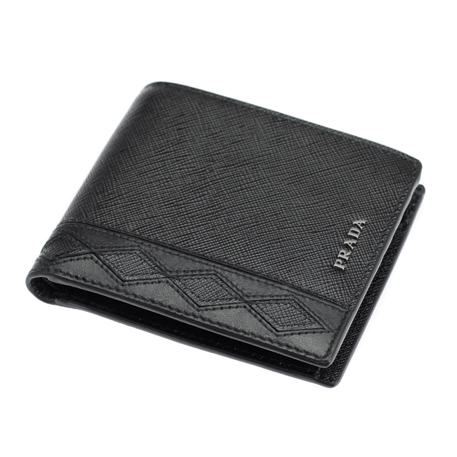 9d3df1219a96 PRADA 財布 プラダ 二つ折り財布 送料無料 サフィアーレザー ROMBI SAFFIANO 2MO738 ブラック メンズ-メンズ財布