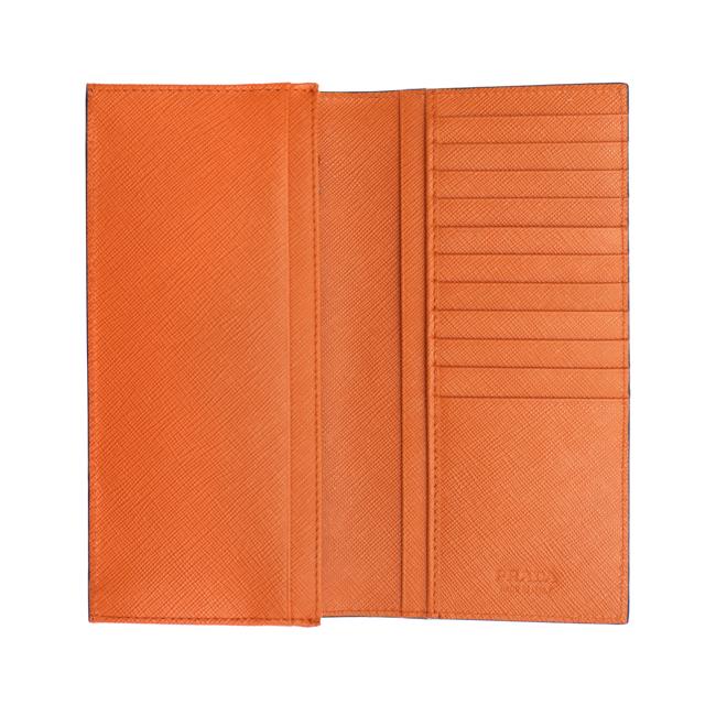 799f8a01f796 プラダPRADA二つ折り長財布ブルー/オレンジ2MV836C5Sf0CV5SAFFIANOBICOLORBLUETTE/PAPAYA