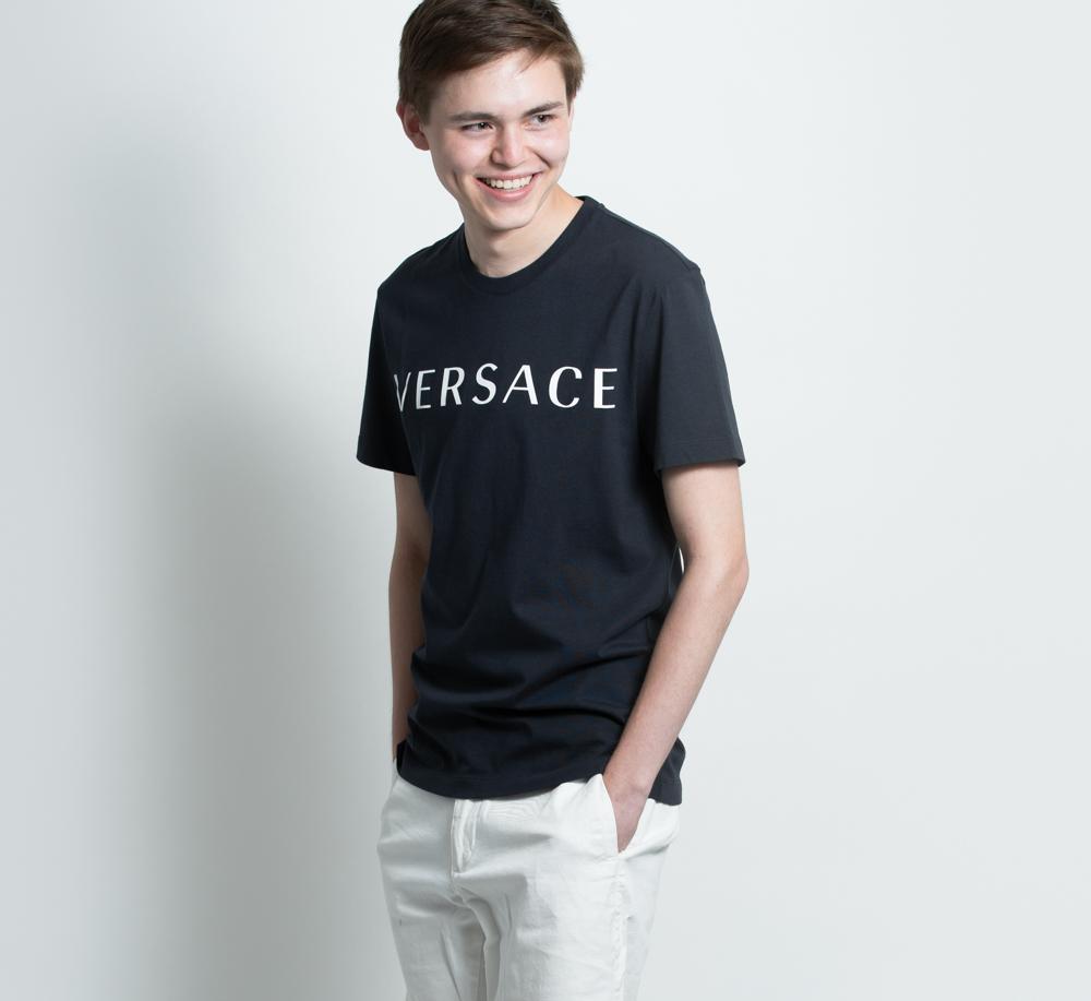 ヴェルサーチ VERSACE Tシャツ カットソー メンズ 半袖 ネイビー 紺 コットン A83396S ロゴ【送料無料】【メンズ トップス ブランドtシャツ】