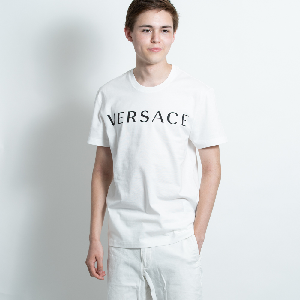 ヴェルサーチ VERSACE Tシャツ カットソー メンズ 半袖 ホワイト 白 コットン A83396S ロゴ【送料無料】【メンズ トップス ブランドtシャツ】