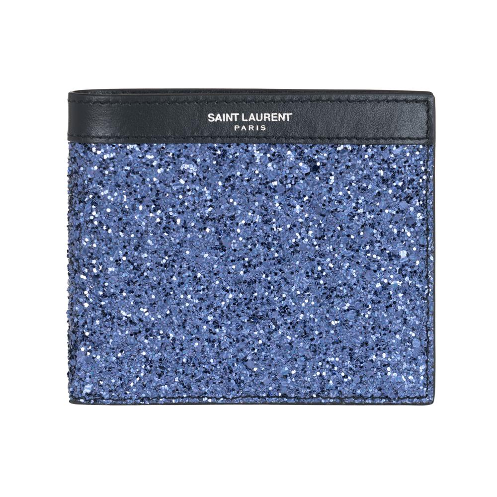 サンローラン 財布 SAINT LAURENT PARIS 二つ折り財布 メンズ 396307 9WR1E 4378 小銭入れなし ブルー/ブラック グリッター レザー 革
