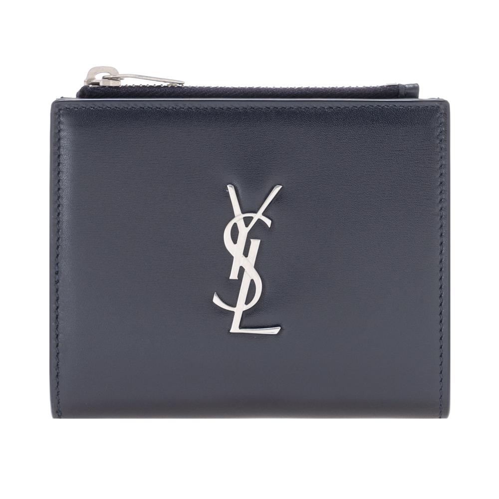 サンローラン パリ 財布 二つ折り財布 小銭入れ付き メンズ モノグラム コンパクト カードケース SAINT LAURENT PARIS 529875 0SX0E 4150 ネイビー レザー 革