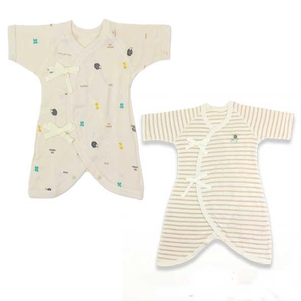 綿100%オーガニック 価格 交渉 送料無料 外縫い使用など敏感な赤ちゃんのお肌にも安心 50-70cm オーガニックコンビ肌着2枚セット 上質