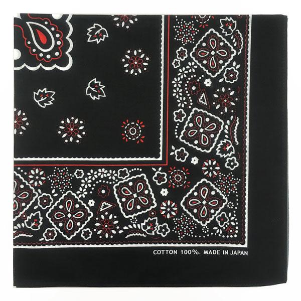 ヘアーアクセサリーやお弁当包みにも バンダナ ペイズリー柄 53×53cm 低価格 綿100% ブラック 期間限定送料無料