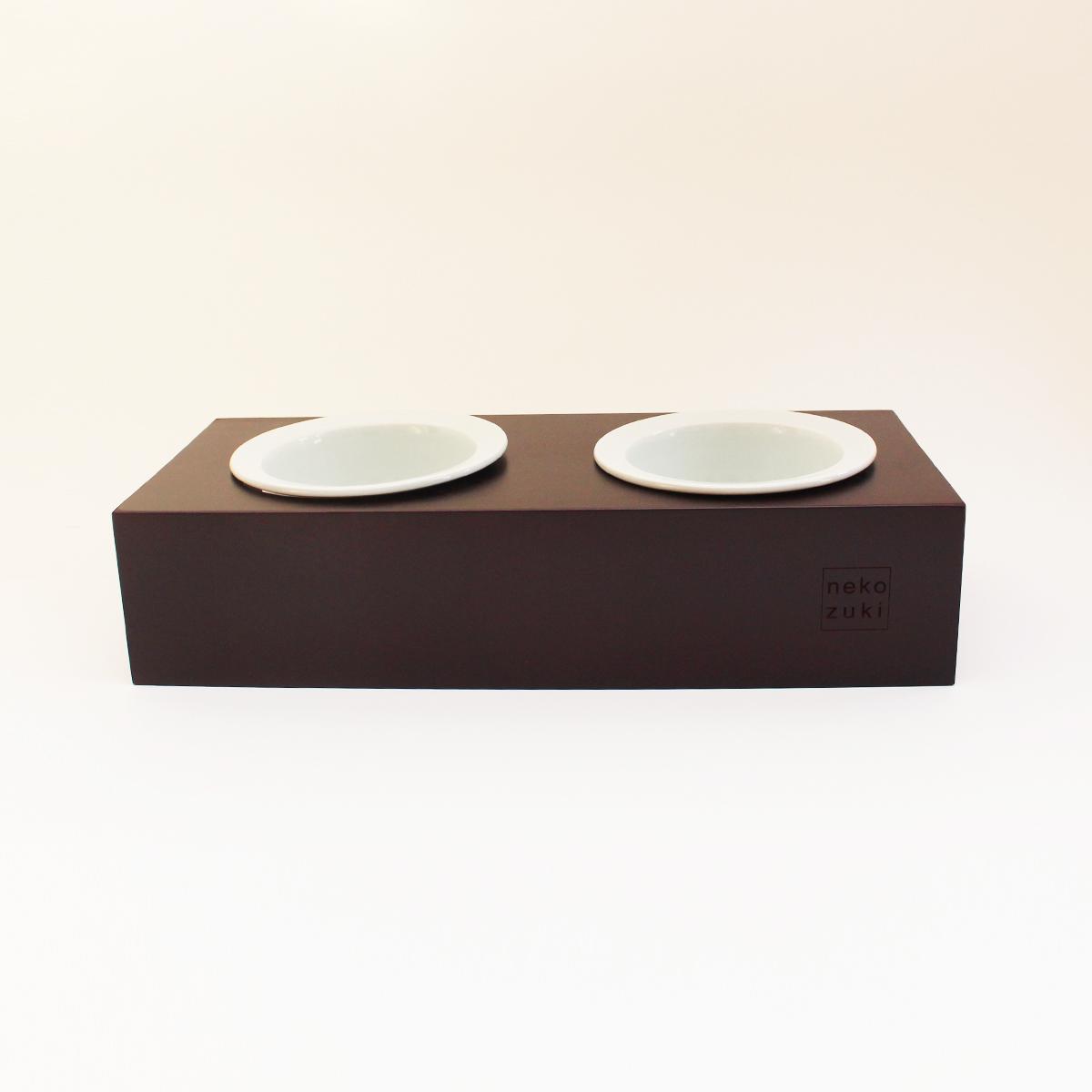 食器台 猫 まんま台 hole ダブル マルーン 磁器 日本製