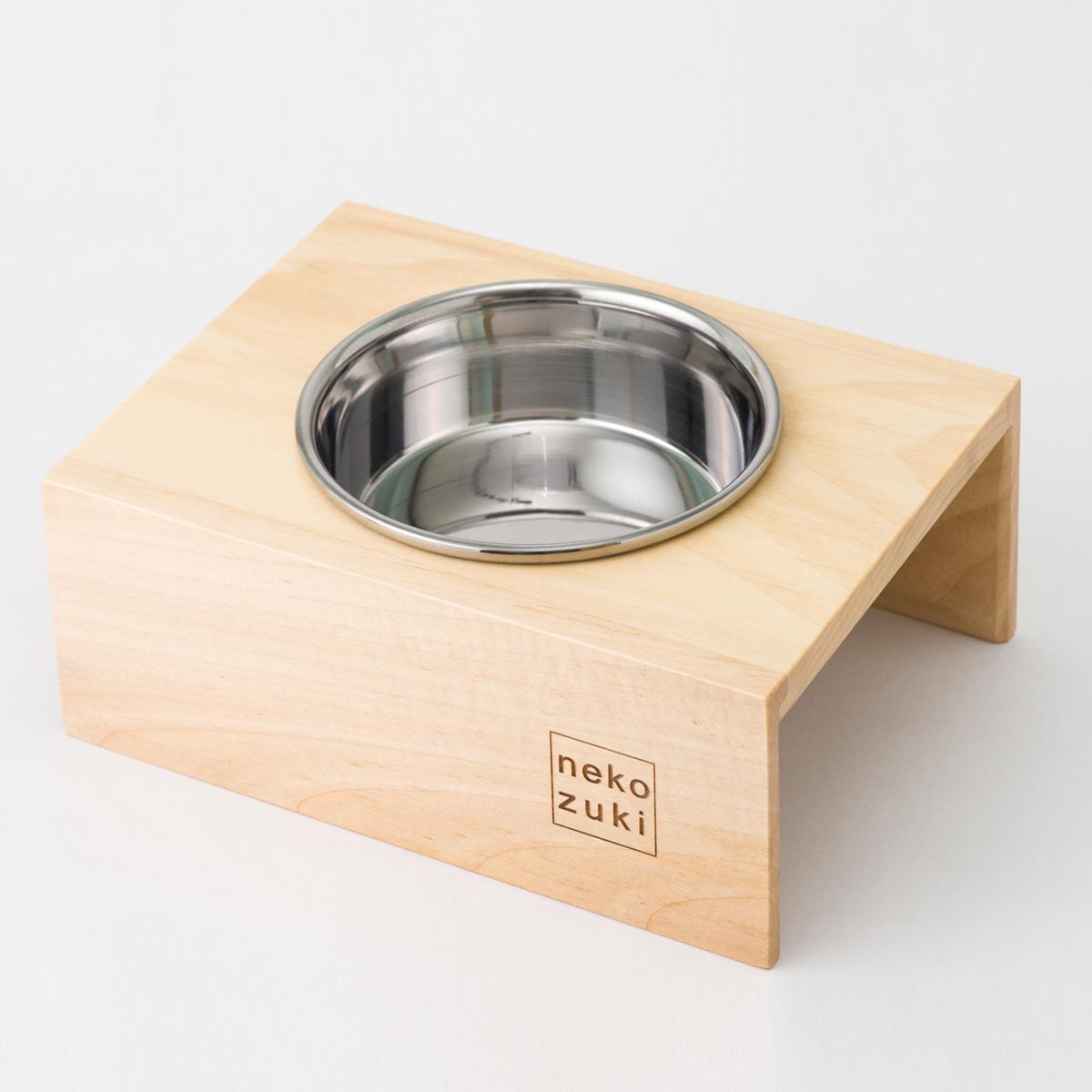 食器台 猫 まんま台 hole シングル ステンレス食器 日本製