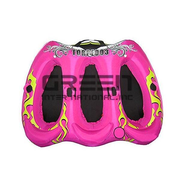 海遊びに トーイングチューブ ウォータートイ ピンク 3人乗り Torpedo 3 【ボート ゴム ビニール 海水浴 ビーチ マリンスポーツ ジェットスキー 浮き輪 ウェイク 水上 遊具 海上 引っ張る バナナボート スモウチューブ探しの方にも】