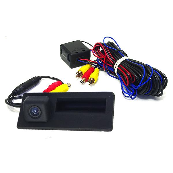 小型 CCDリアビューカメラ トランクハンドル交換式 フォルクスワーゲン VW ブラック 黒 高画質 バックカメラ 後付け 汎用 ライセンスランプ カーナビ モニター DIY 社外 エアロ 等多数取扱い有