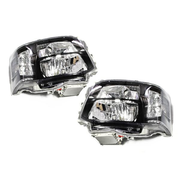 ヘッドライト本体&HIDセット 純正交換式 ブラック トヨタ ハイエース 200系 3型 後期 2段ルック アンバーLED内蔵 クリスタルヘッドライト インナーブラック 6000K 本体 ヘッドライトユニット 後付け
