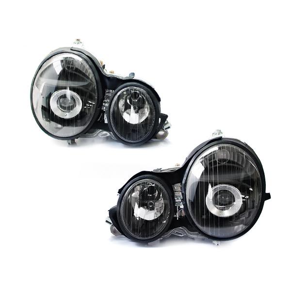 メルセデスベンツ風 ヘッドライト 後期ルックに Eクラス W210 前期 補修交換用 E230、E320、E400 ヘッドライト W211風 ブラック