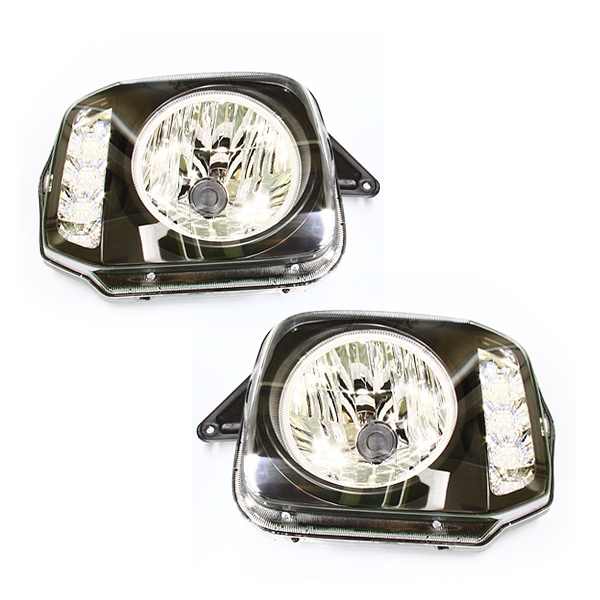 CCFL/LEDイカリング内蔵 ウインカーヘッドライト JB23 ジムニー インナーブラック クリスタルヘッドライト 左右セット 外装 交換 インナ