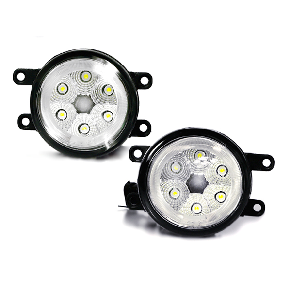 純正フォグランプ風 トヨタ汎用 CCFLリング H11 12連LED内臓 フォグランプユニット 白(ホワイト) クリスタルメッキ LEDフォグライトユニット