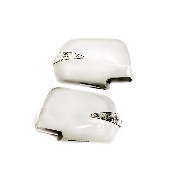 純正交換用 ウインカーLEDミラー カラー042 フットランプ付★20系クルーガー ウィンカーミラー LEDミラー 純正 カバー LED ホワイトパール