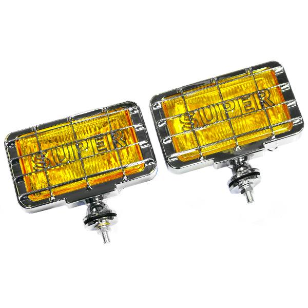 送料無料 オフロードフォグ 12V車用 ハロゲンフォグ H3 55w 角型イエローレンズ フロント 投光器 灯光器 四駆 フォグランプ ライト トラック 黄色 フォグランプ ライト HID 球 車 バイク ボート フォークリフト