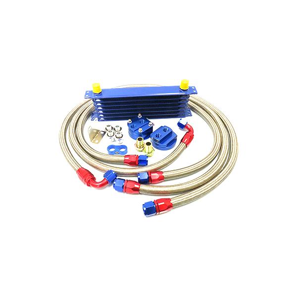ブルー コア 6段 汎用タイプ 移動式 オイルクーラーセット 【オイル クーラー 冷却 パーツ メンテナンス 整備 DIY 高圧対応 オイルポンプ強化車OK オイルエレメント エンジン バイパス ブロック エレメントブラケット などお探しの方に】
