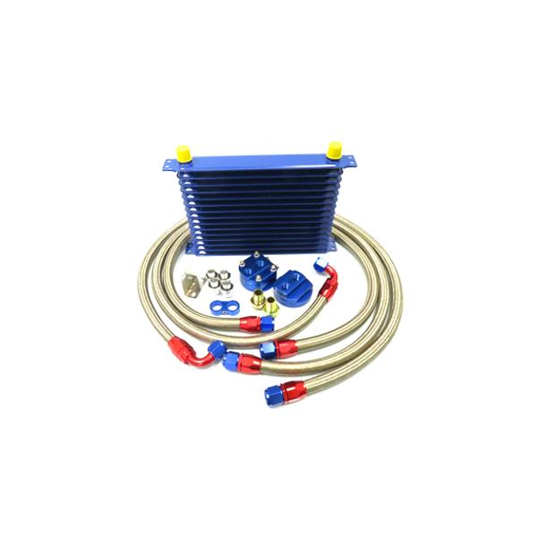 ブルー コア 14段 汎用タイプ 移動式 オイルクーラーセット 【オイル クーラー 冷却 パーツ メンテナンス 整備 DIY 高圧対応 オイルポンプ強化車OK オイルエレメント エンジン バイパス ブロック エレメントブラケット などお探しの方に】