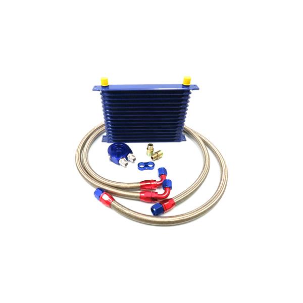 サンドイッチタイプ コア 14段 汎用 オイルクーラーセット 【オイル クーラー 冷却 パーツ メンテナンス 整備 DIY 高圧対応 オイルポンプ強化車OK オイルエレメント エンジン バイパス ブロック エレメントブラケット などお探しの方に】