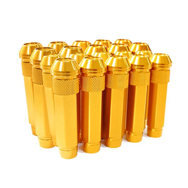 送料無料 ロングホイールナット 90mm M12 P1.5 20本 ゴールド USDM/JDM/ヘラフラ/スタンス/NRG/XXR/326/深リム ホイール 貫通 シャコタン