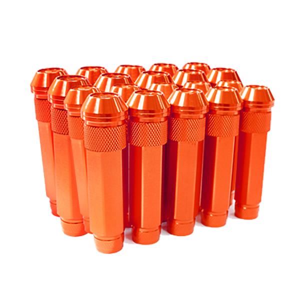 送料無料 ロングホイールナット 90mm M12 P1.25 20本 オレンジ USDM/JDM/ヘラフラ/スタンス/NRG/XXR/326/深リム ホイール 貫通 シャコタン