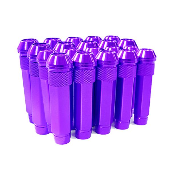 送料無料 ロングホイールナット 90mm M12 P1.25 20本 パープル USDM/JDM/ヘラフラ/スタンス/NRG/XXR/326/深リム ホイール 貫通 シャコタン