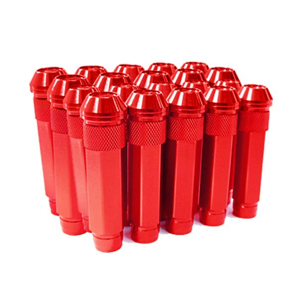 送料無料 ロングホイールナット 90mm M12 P1.25 20本 レッド USDM/JDM/ヘラフラ/スタンス/NRG/XXR/326/深リム ホイール 貫通 シャコタン