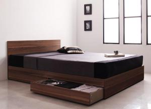シンプルモダンデザイン・収納ベッド Pleasat プレザート スタンダードボンネルコイルマットレス付き セミダブル