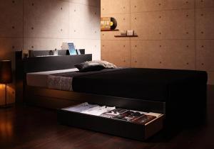 棚・コンセント付き収納ベッド Gute グーテ プレミアムボンネルコイルマットレス付き シングル