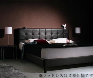 モダンデザイン・高級レザー・大型ベッド Gerade ゲラーデ マルチラススーパースプリングマットレス付き クイーン(SS×2)