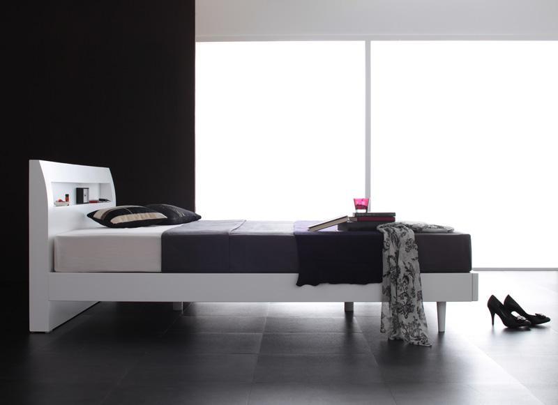 棚・コンセント付きデザインすのこベッド【Alamode】アラモード【ボンネルコイルマットレス:ハード付き】ダブル