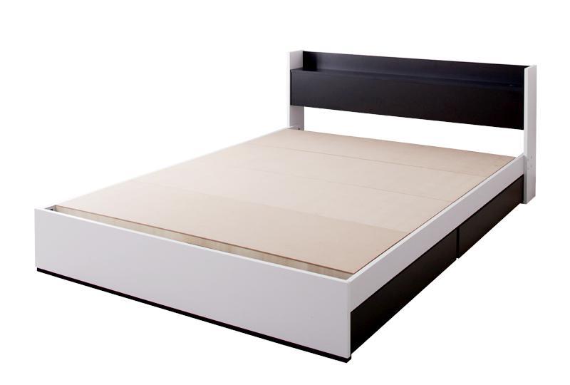 モノトーンモダンデザイン 棚・コンセント付き収納ベッド【MONO-BED】モノ・ベッド【フレームのみ】ダブル
