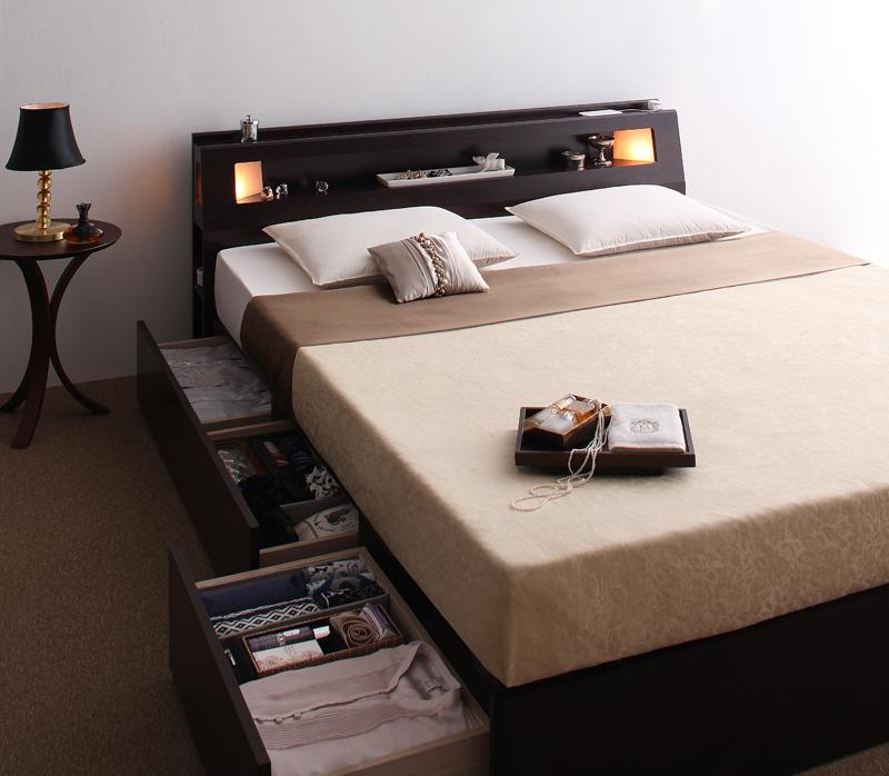 モダンデザイン・大型サイズ収納ベッド Aisance エザンス プレミアムポケットコイルマットレス付き クイーン(Q×1)