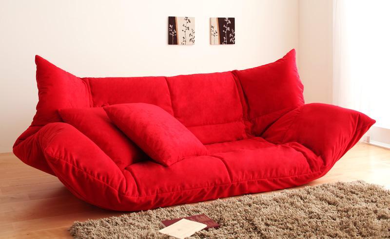 ソファーベッド ロータイプ レッド うたた寝できるカバーリングフロアソファベッド【代引不可】