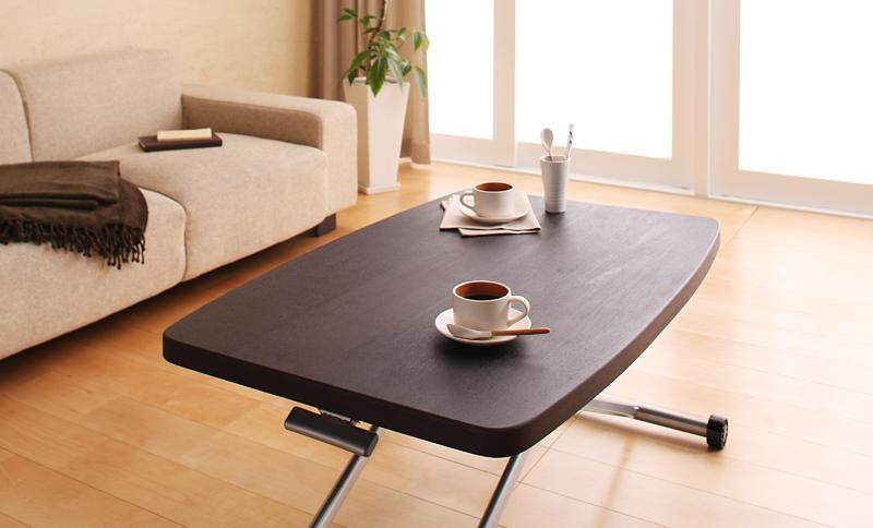 【単品】テーブル ブラウン リフティングテーブル【KATE】ケイト【代引不可】