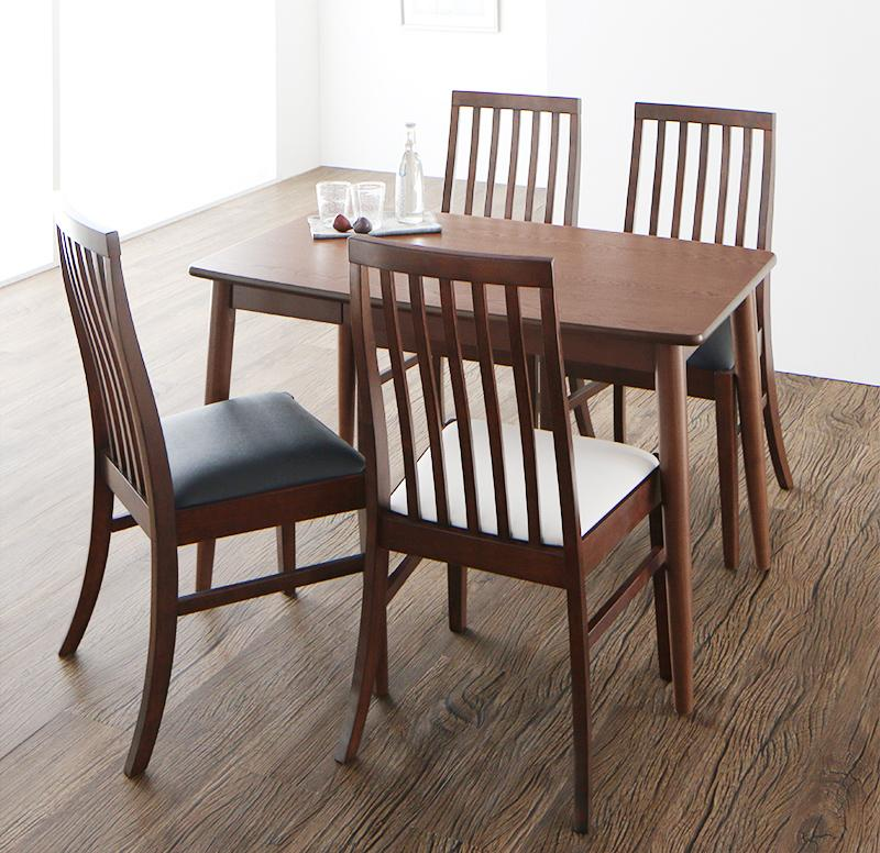 ダイニングセット 5点セット(テーブル+チェア4脚) テーブル幅115cm テーブルカラー:ブラウン チェアカラー:ミックス ファミリー向け タモ材 ハイバックチェアダイニング Daphne ダフネ