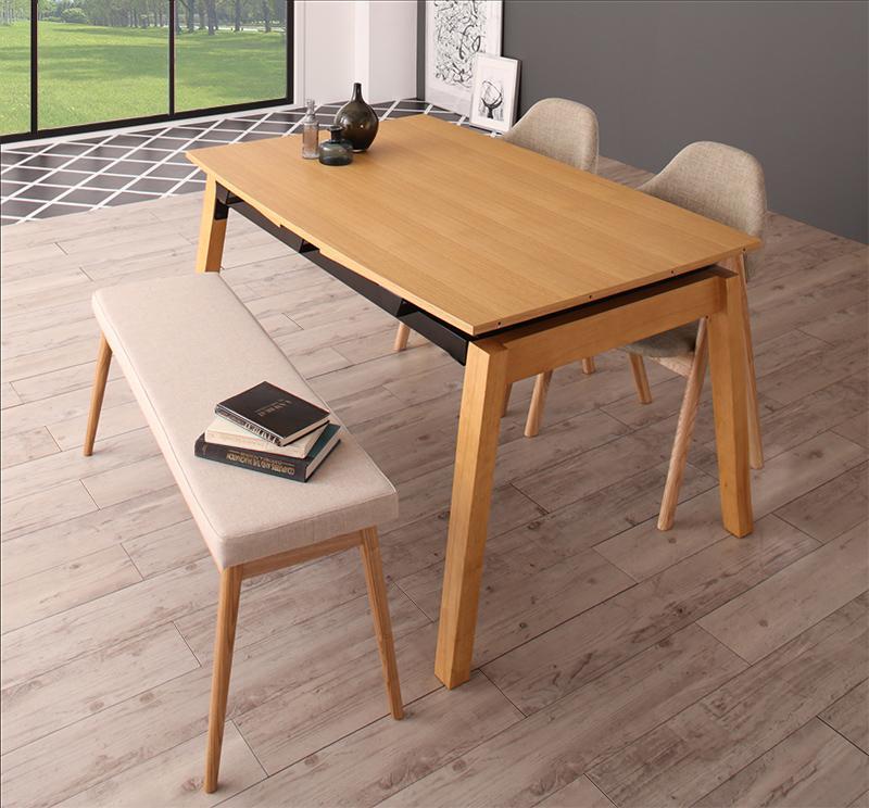 ダイニングセット 4点セット(テーブル+チェア2脚+ベンチ1脚) テーブルカラー:ナチュラル チェアカラー×ベンチカラー:サンドベージュ×ベージュ 北欧デザイン スライド伸縮ダイニングセット MALIA マリア【代引不可】