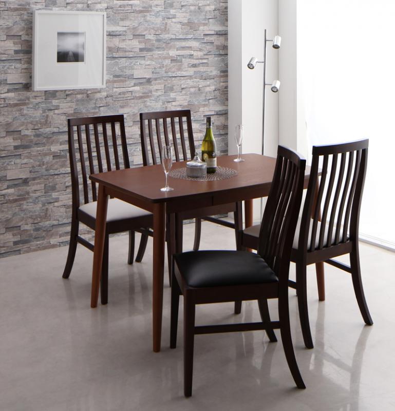 ダイニングセット 5点セット(テーブル+チェア4脚) テーブル幅115cm テーブルカラー:ブラウン チェアカラー:ブラック×ホワイト 新婚カップル向け ハイバックチェア ダイニング Themis テミス