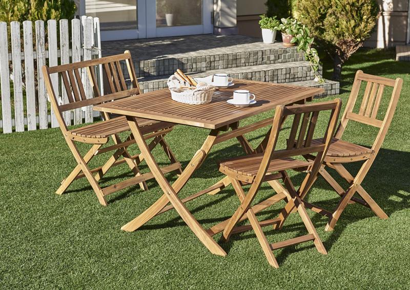 ベンチのサイズが選べる アカシア天然木ガーデンファニチャー Efica エフィカ 5点セット(テーブル+チェア4脚) チェアタイプ W120