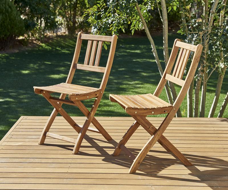 ベンチのサイズが選べる アカシア天然木ガーデンファニチャー Efica エフィカ ガーデンチェア 2脚組