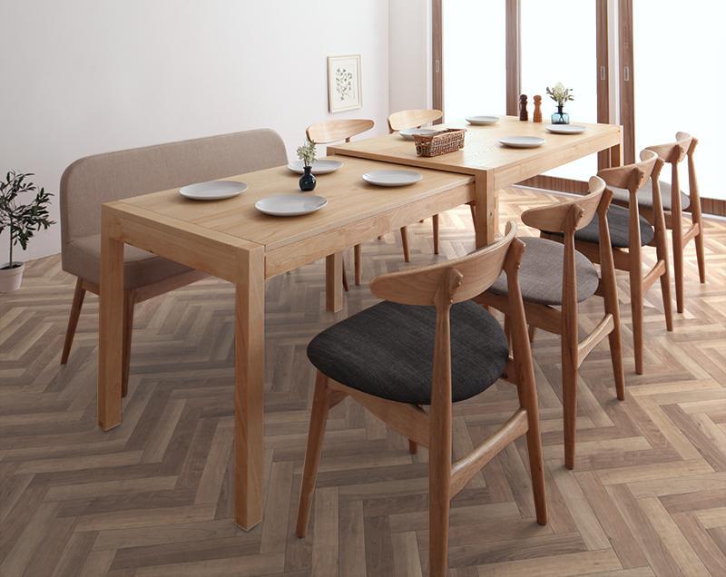 北欧デザイン スライド伸縮テーブル ダイニングセット SORA ソラ 8点セット(テーブル+チェア6脚+ソファベンチ1脚) W135-235