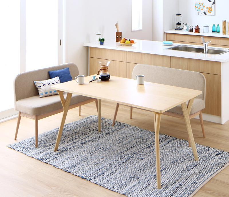 やさしい色合いの北欧スタイル ソファベンチ ダイニング Peony ピアニー 3点セット(テーブル+ソファベンチ2脚) W140