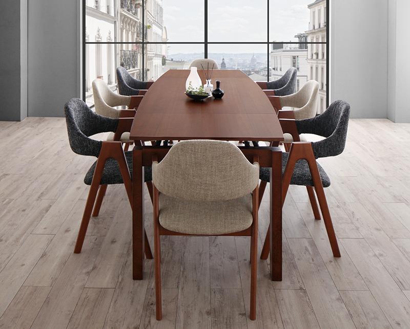 北欧テイスト 天然木ウォールナット材 伸縮ダイニングセット KANA カナ 9点セット(テーブル+チェア8脚) W140-240