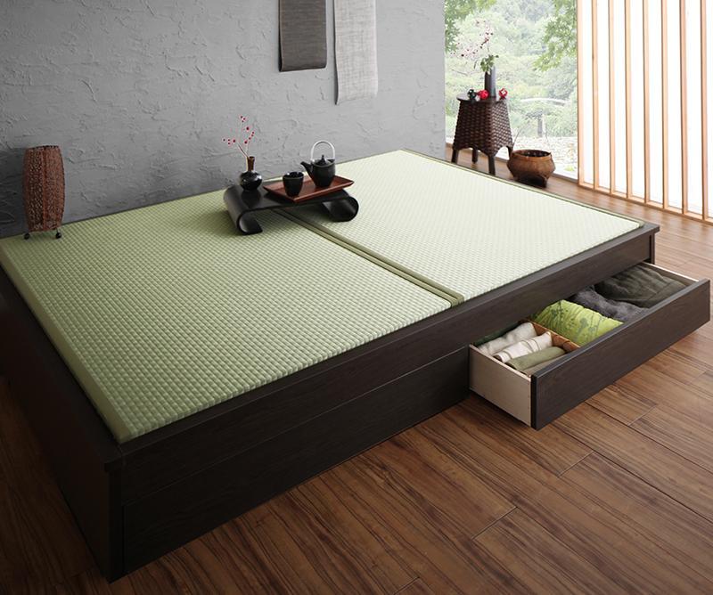 組立設置 美草・日本製 小上がりにもなるモダンデザイン畳収納ベッド 花水木 ハナミズキ シングル