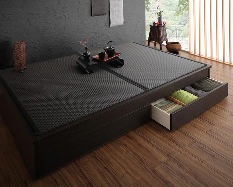組立設置 美草・日本製 小上がりにもなるモダンデザイン畳収納ベッド 花水木 ハナミズキ セミダブル