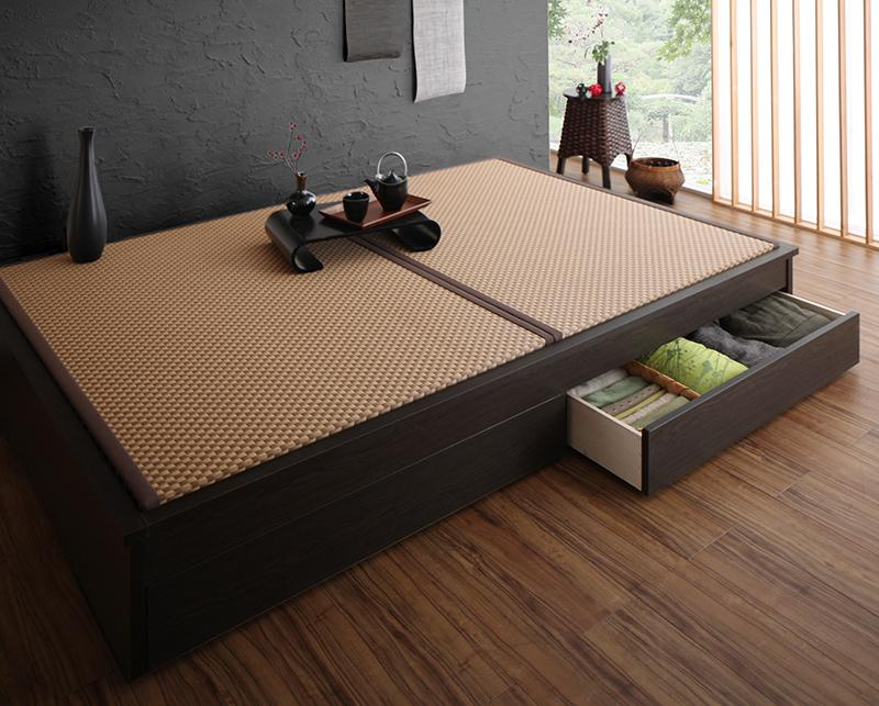 組立設置 美草・日本製 小上がりにもなるモダンデザイン畳収納ベッド 花水木 ハナミズキ ダブル