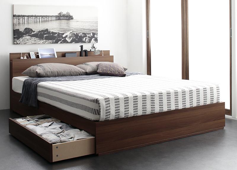 【スーパーSALE限定価格】スリム棚・4口コンセント付き収納ベッド Dublin ダブリン プレミアムポケットコイルマットレス付き ダブル