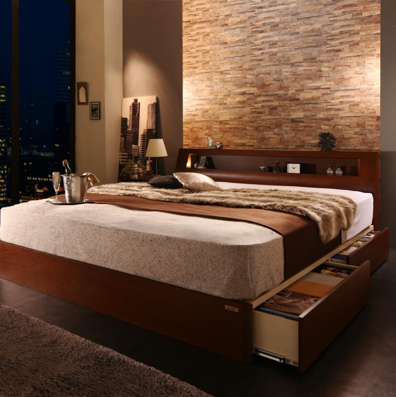 高級ウォルナット材ワイドサイズ収納ベッド Fenrir フェンリル ボンネルコイルマットレス付き ライトタイプ クイーン