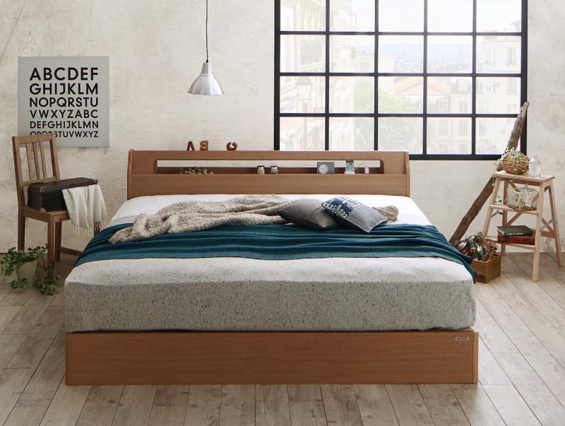 高級アルダー材ワイドサイズデザイン収納ベッド Hrymr フリュム ハイグレード国産ポケットコイルマットレス付き スリムタイプ クイーン