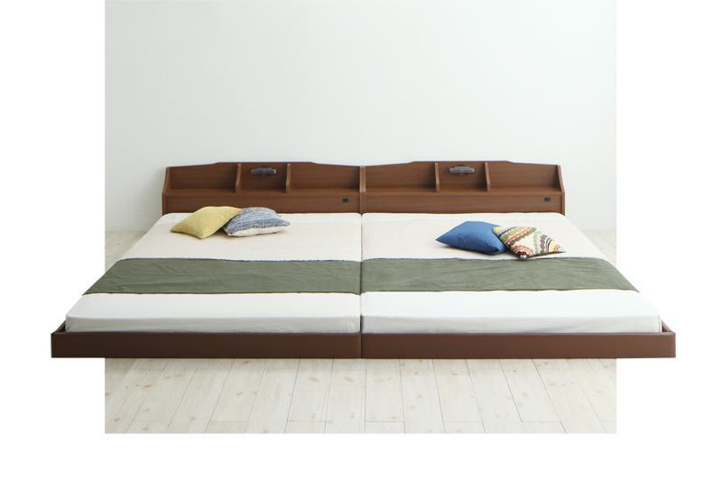 親子で寝られる収納棚・照明付き連結ベッド JointFamily ジョイント・ファミリー ボンネルコイルマットレス付き クイーン(SS×2)