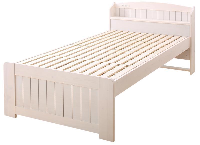 高さ調節できて長く使える ホワイト木目のショート丈コンパクトすのこベッド 棚・コンセント付き petit bunny プチバニー セミシングル ショート丈